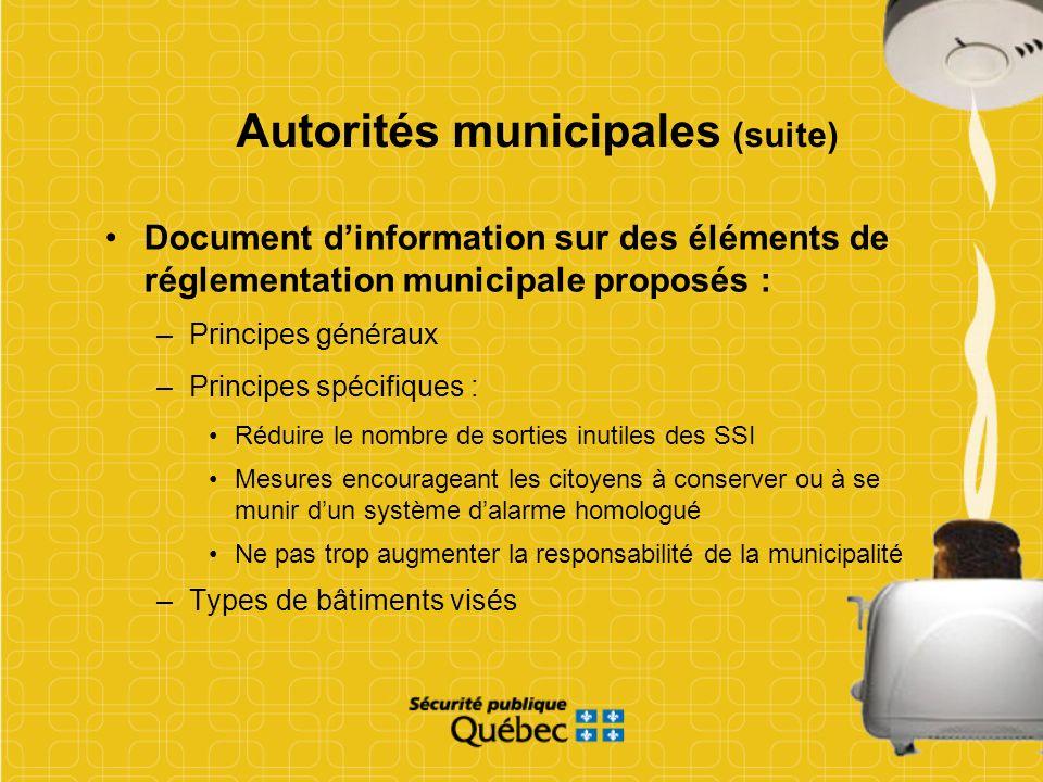 Autorités municipales (suite)