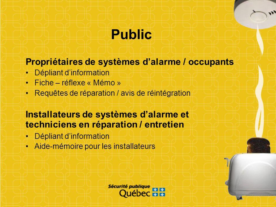 Public Propriétaires de systèmes d'alarme / occupants
