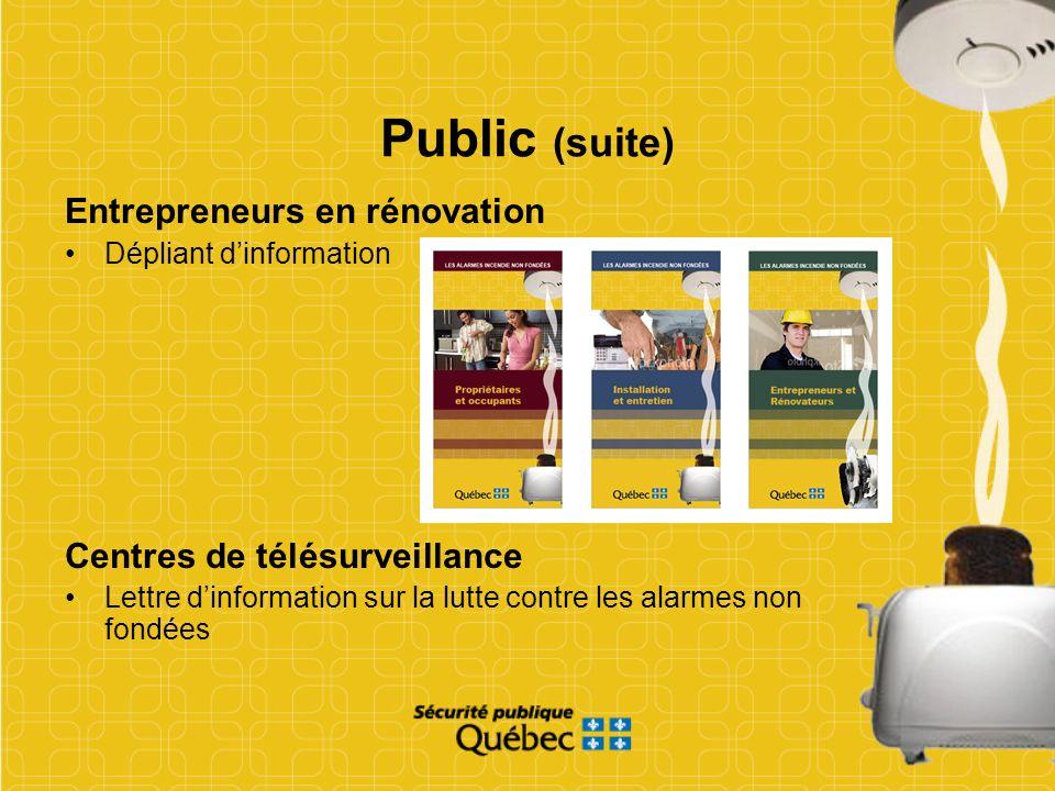 Public (suite) Entrepreneurs en rénovation Centres de télésurveillance