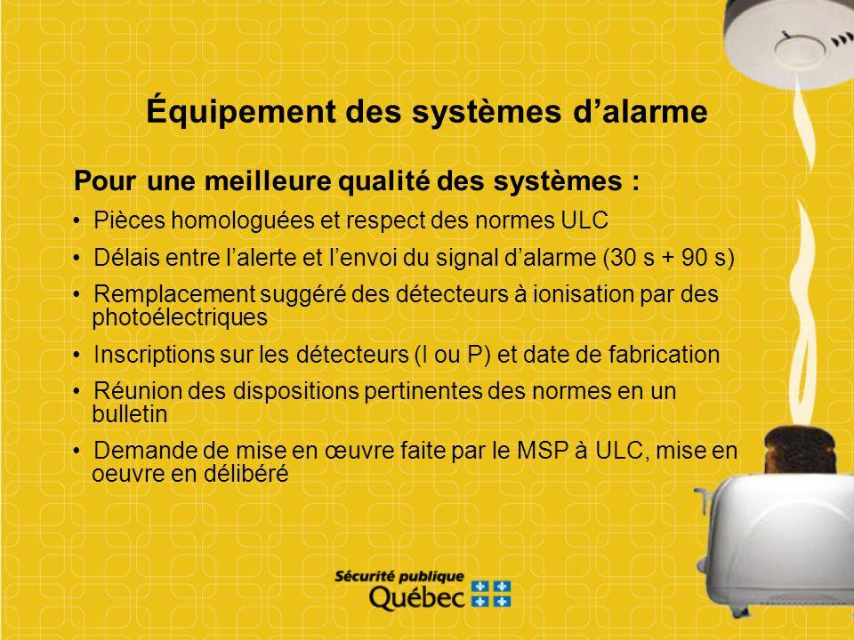 Équipement des systèmes d'alarme