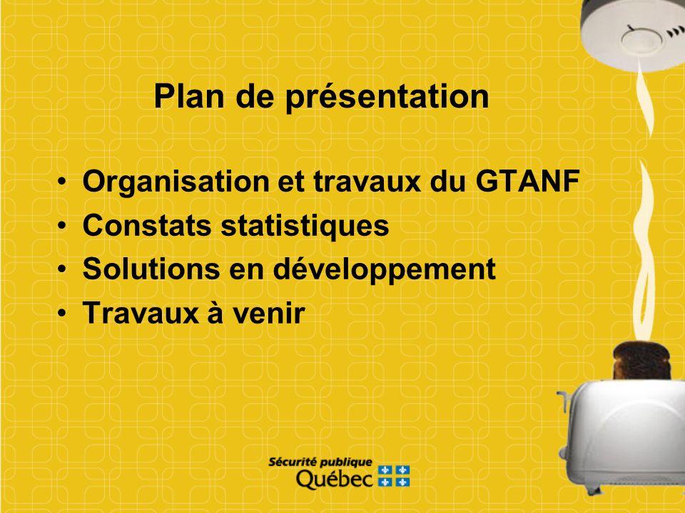 Plan de présentation Organisation et travaux du GTANF