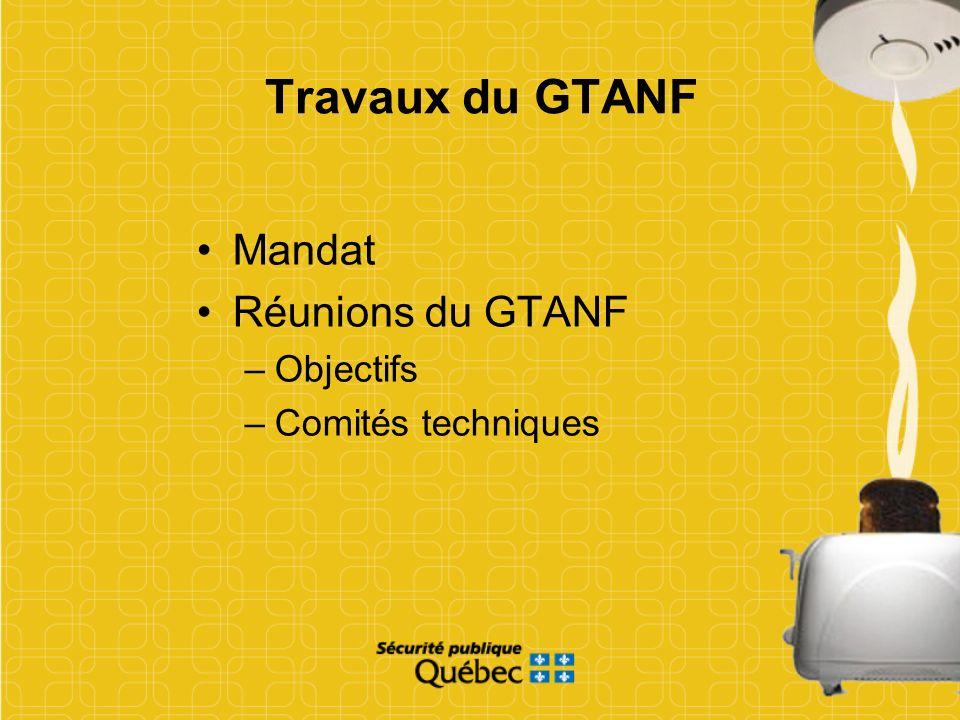 Travaux du GTANF Mandat Réunions du GTANF Objectifs Comités techniques
