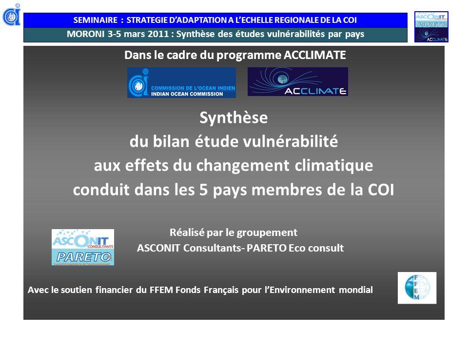 MORONI 3-5 mars 2011 : Synthèse des études vulnérabilités par pays