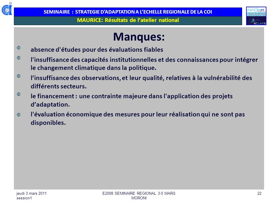 MAURICE: Résultats de l'atelier national