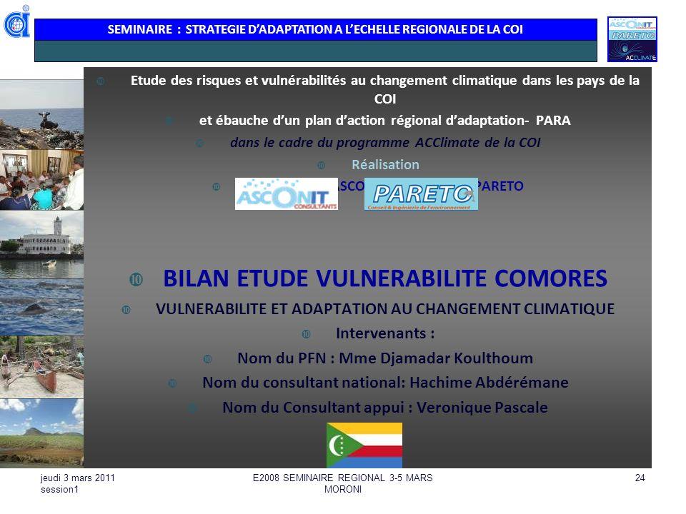 BILAN ETUDE VULNERABILITE COMORES