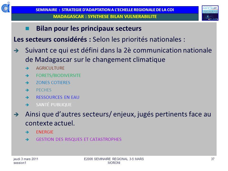 MADAGASCAR : SYNTHESE BILAN VULNERABILITE