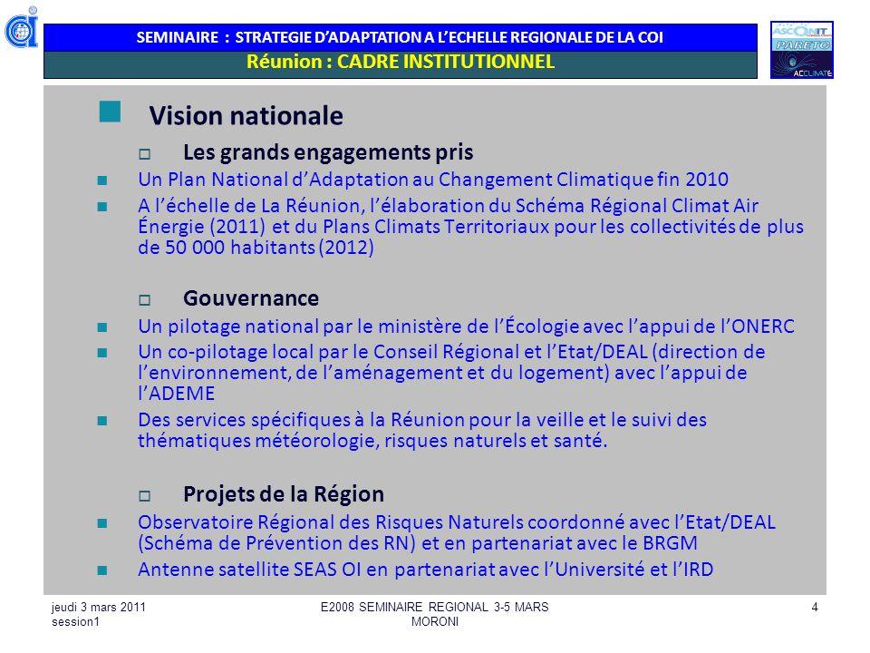 Réunion : CADRE INSTITUTIONNEL