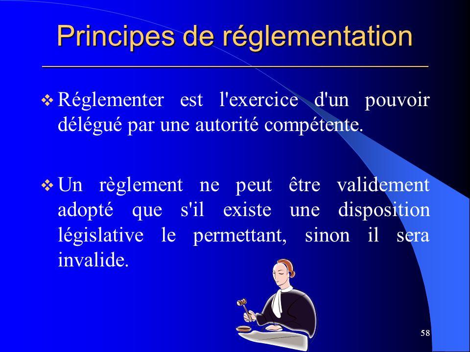 Principes de réglementation _____________________________________________________
