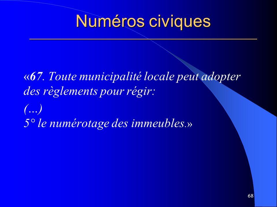 Numéros civiques _____________________________________________________