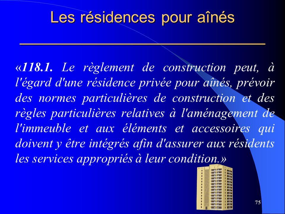 Les résidences pour aînés ____________________________