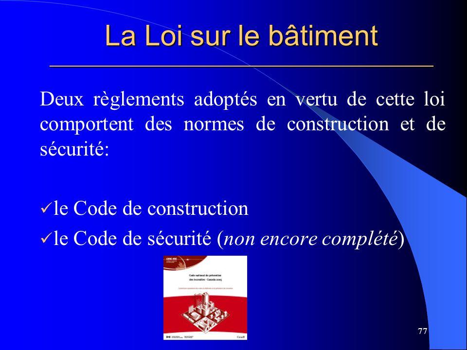 La Loi sur le bâtiment _____________________________________________________