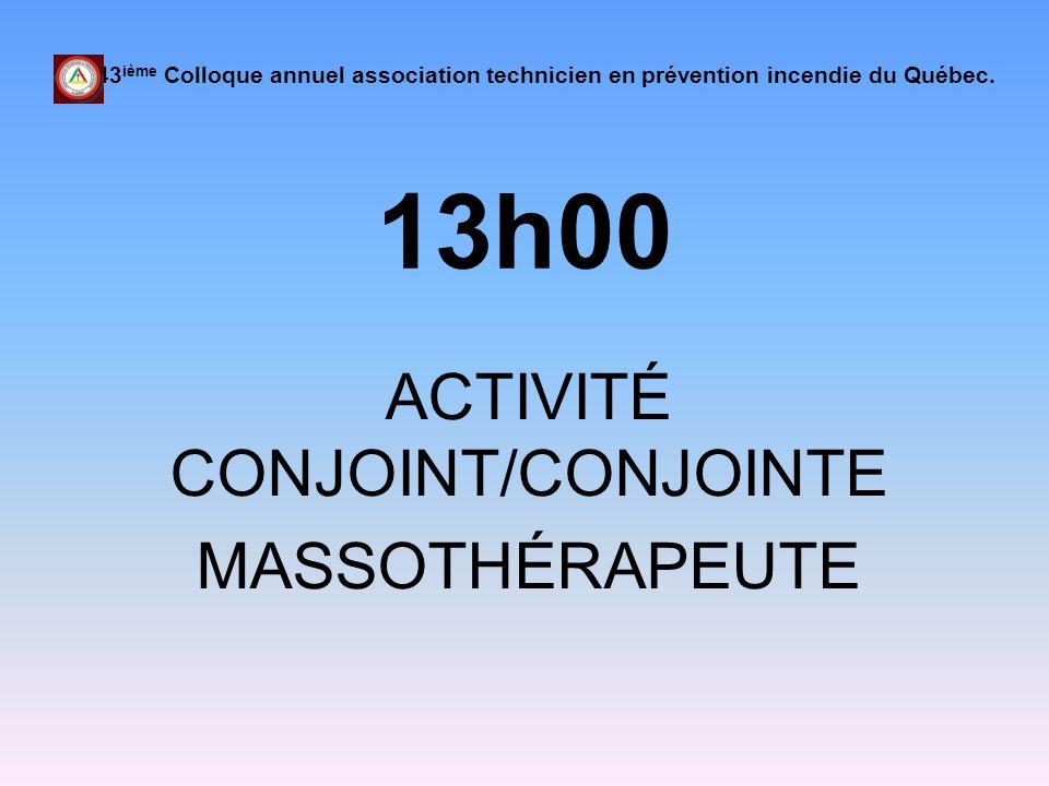 ACTIVITÉ CONJOINT/CONJOINTE MASSOTHÉRAPEUTE