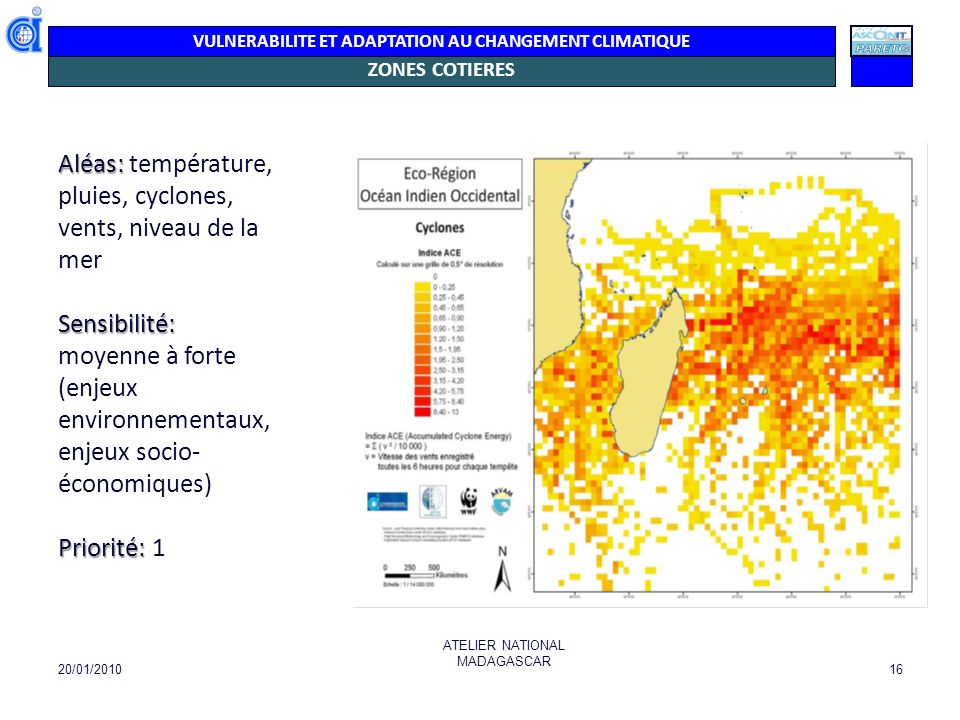 Aléas: température, pluies, cyclones, vents, niveau de la mer