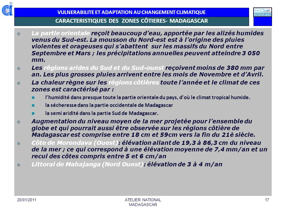 CARACTERISTIQUES DES ZONES CÔTIERES- MADAGASCAR