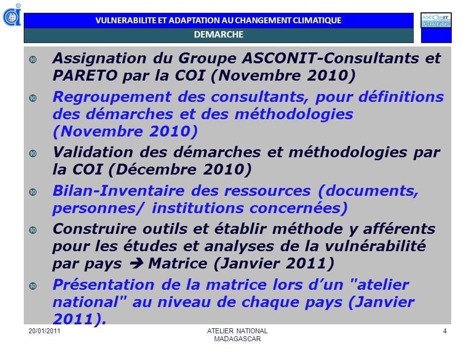 Validation des démarches et méthodologies par la COI (Décembre 2010)