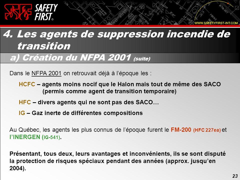 4. Les agents de suppression incendie de transition