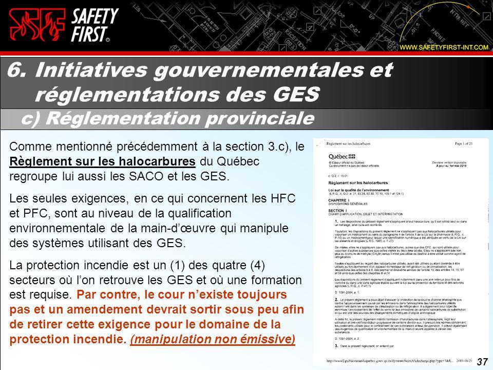 6. Initiatives gouvernementales et réglementations des GES
