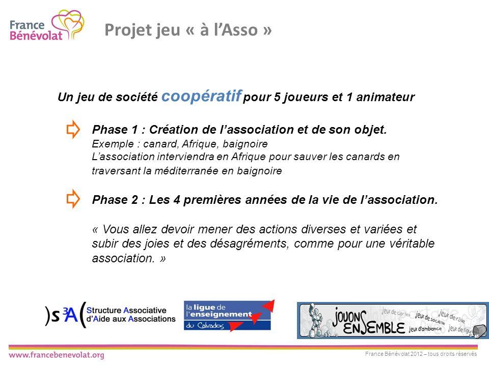 Projet jeu « à l'Asso » Un jeu de société coopératif pour 5 joueurs et 1 animateur. Phase 1 : Création de l'association et de son objet.