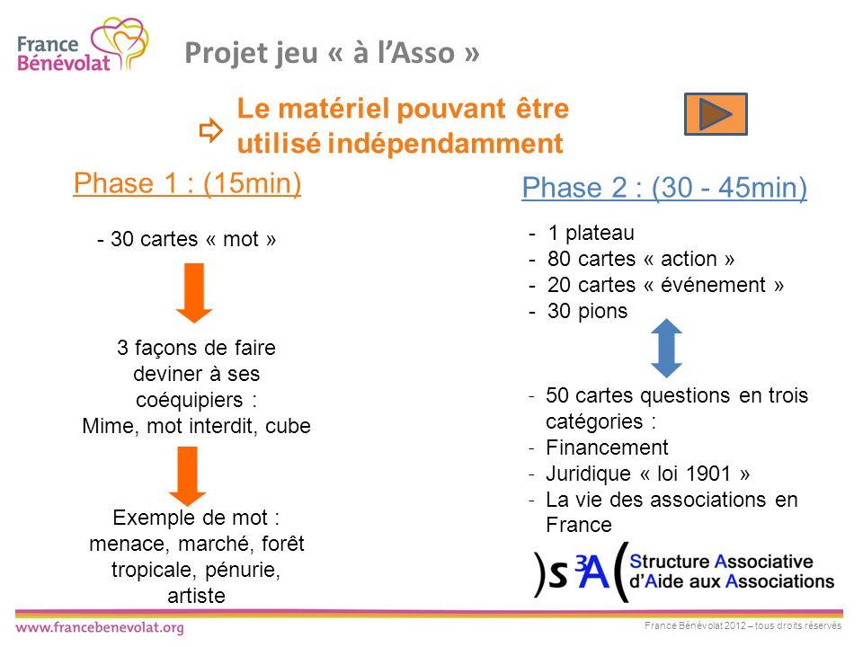 Projet jeu « à l'Asso » Le matériel pouvant être utilisé indépendamment. Phase 1 : (15min) Phase 2 : (30 - 45min)