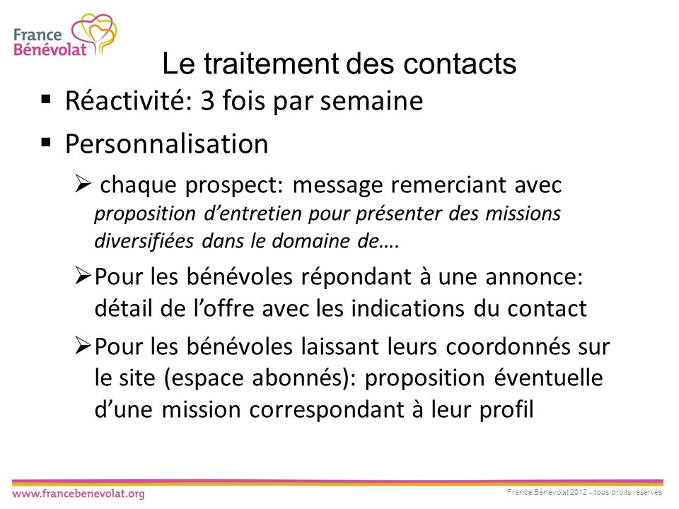 Le traitement des contacts