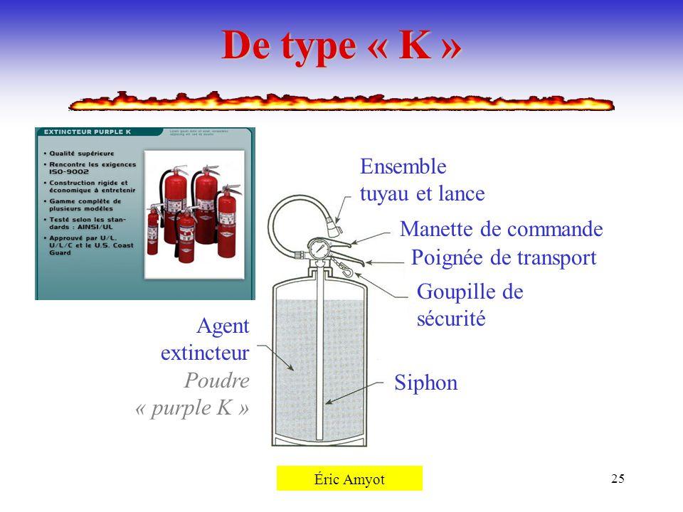 De type « K » Ensemble tuyau et lance Manette de commande