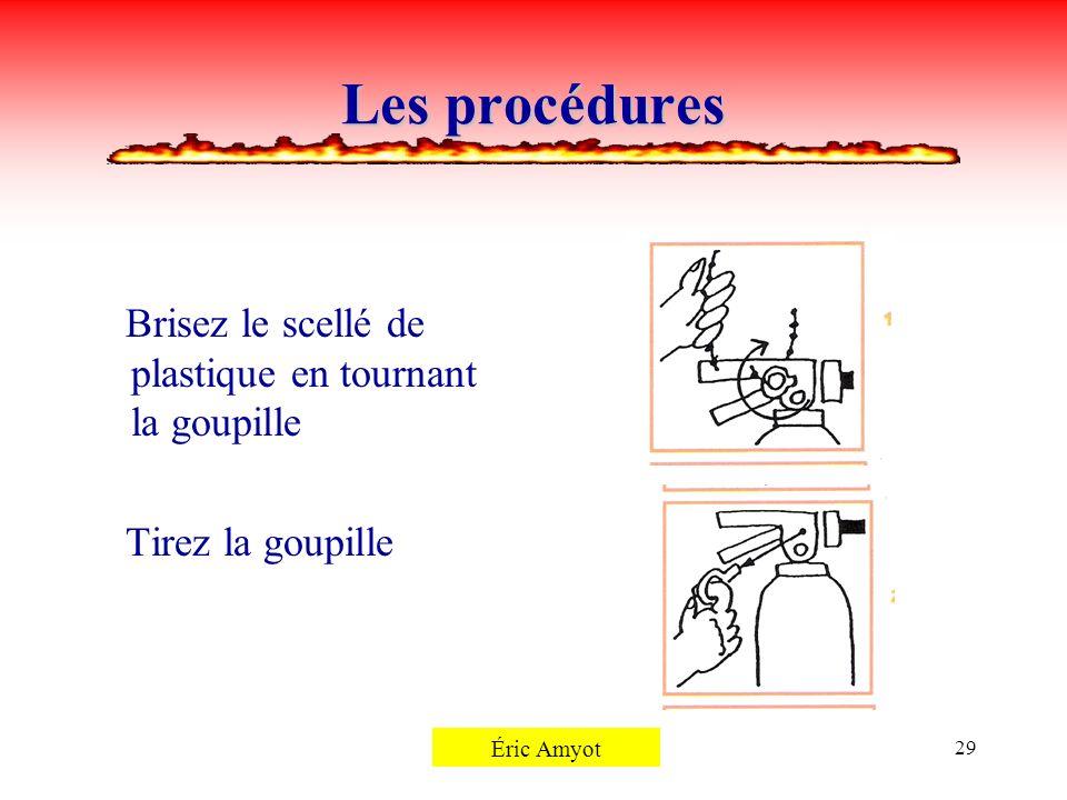 Les procédures Brisez le scellé de plastique en tournant la goupille