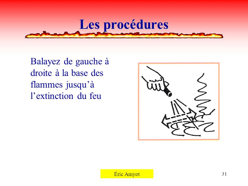 Les procéduresBalayez de gauche à droite à la base des flammes jusqu'à l'extinction du feu. Pierre Rémillard.