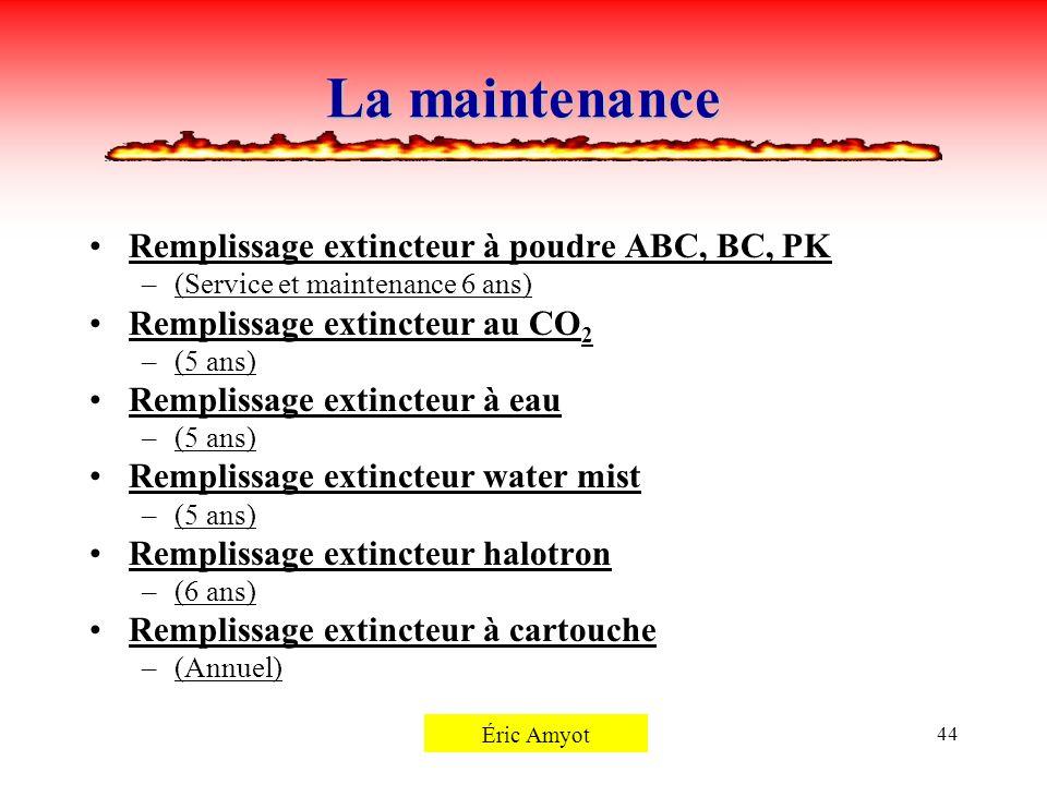 La maintenance Remplissage extincteur à poudre ABC, BC, PK