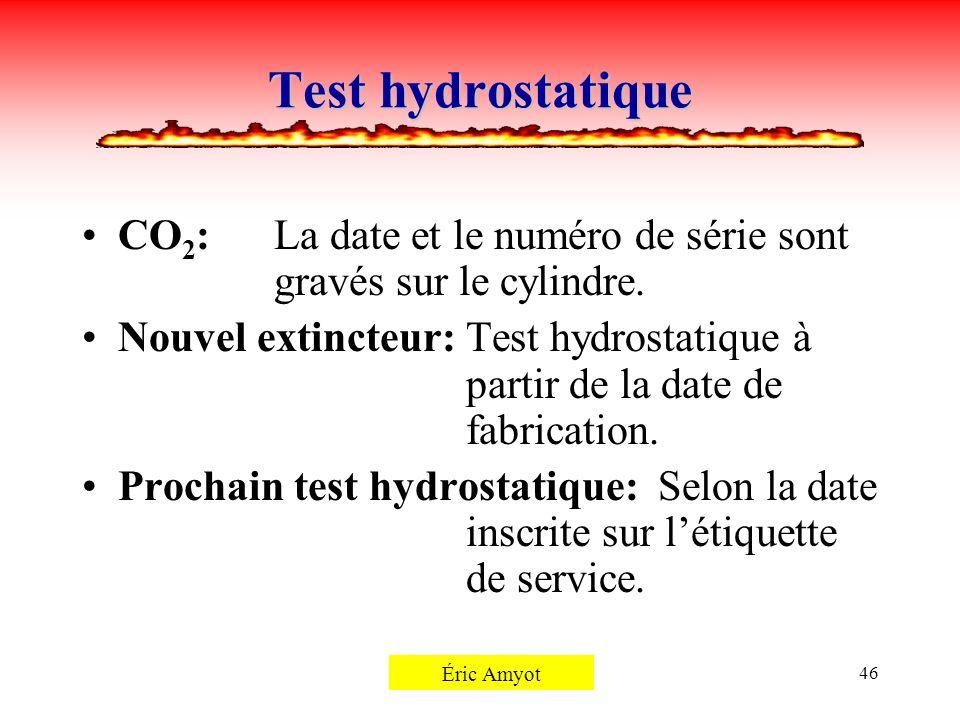 Test hydrostatique CO2: La date et le numéro de série sont gravés sur le cylindre.