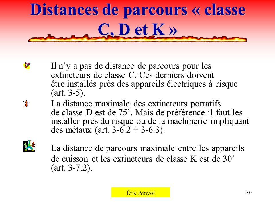 Distances de parcours « classe C, D et K »