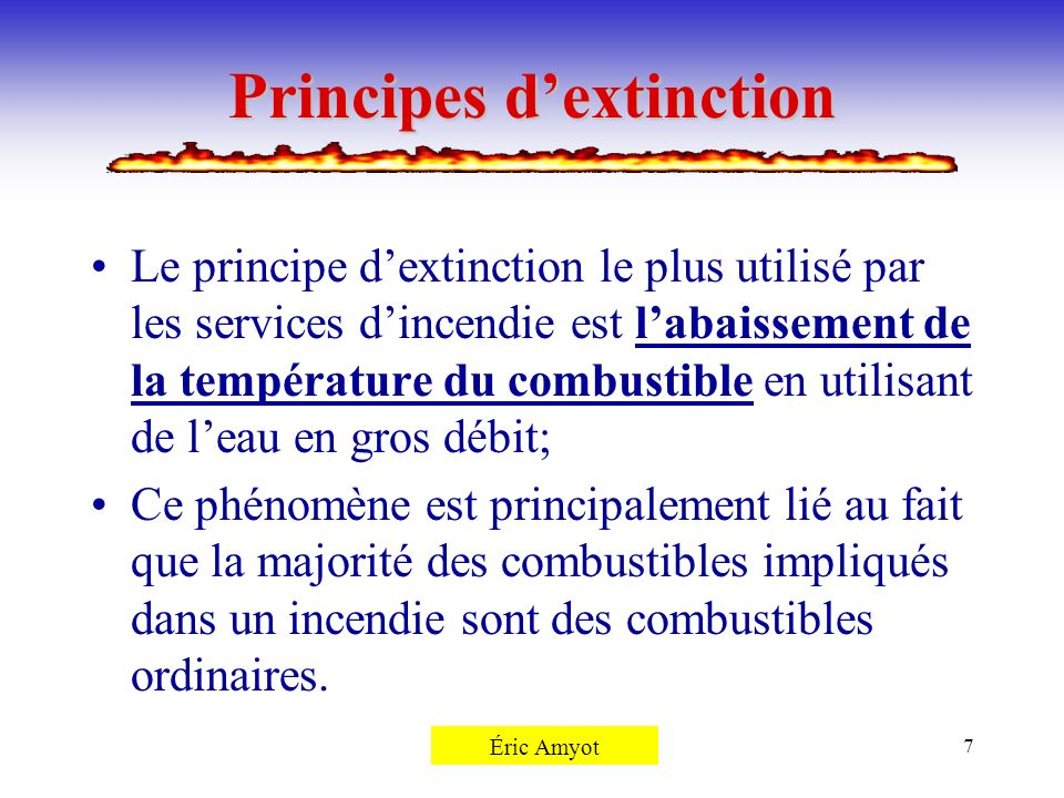 Principes d'extinction