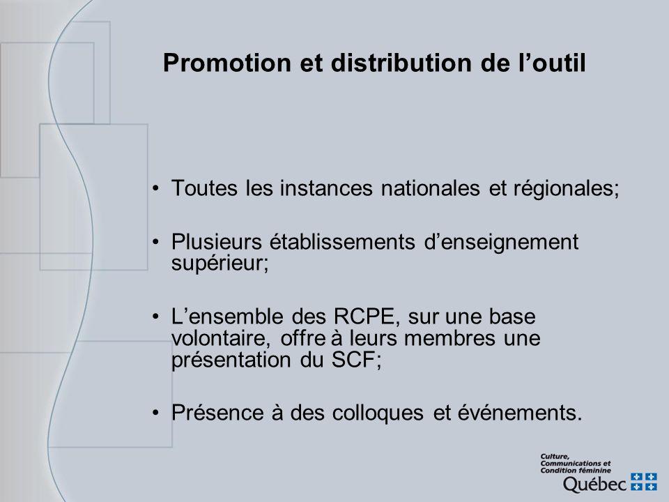 Promotion et distribution de l'outil