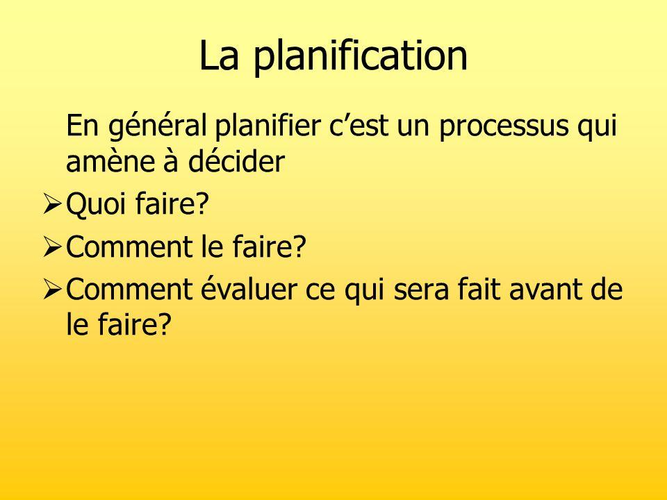 La planification En général planifier c'est un processus qui amène à décider. Quoi faire Comment le faire