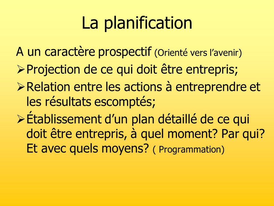 La planification A un caractère prospectif (Orienté vers l'avenir)