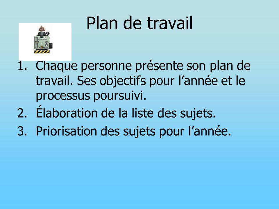 Plan de travail Chaque personne présente son plan de travail. Ses objectifs pour l'année et le processus poursuivi.