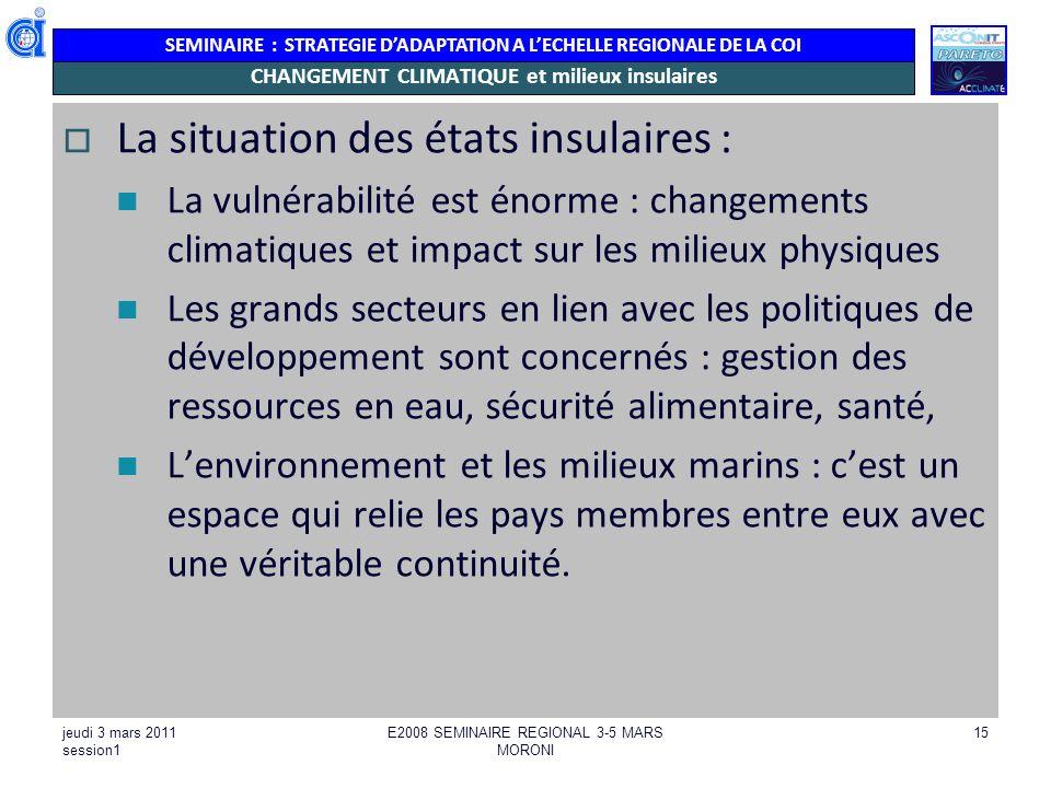 CHANGEMENT CLIMATIQUE et milieux insulaires