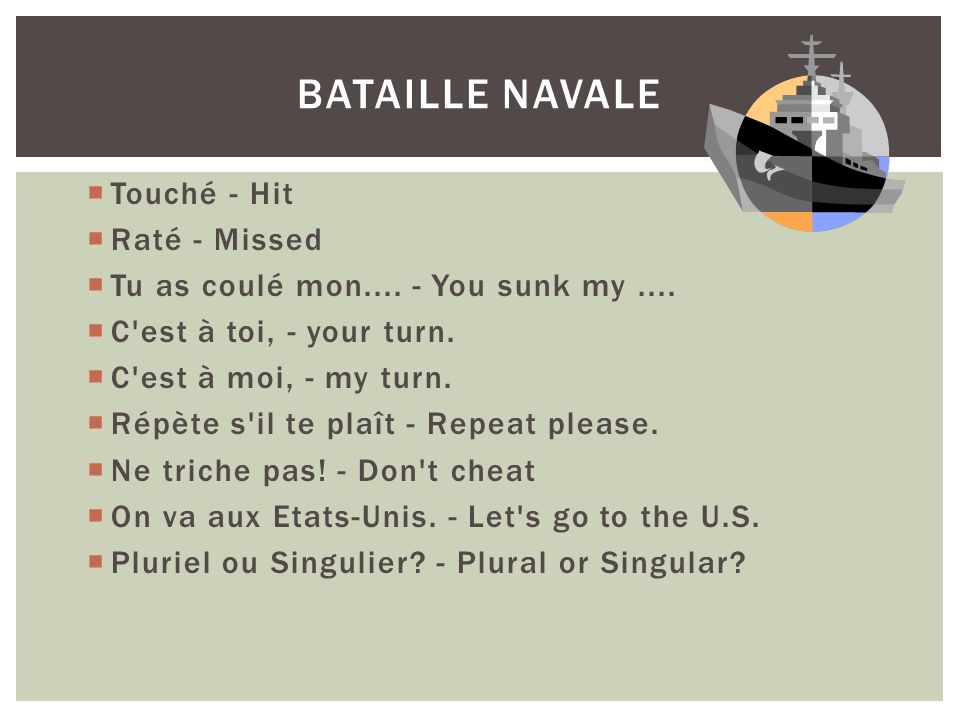 Bataille Navale Touché - Hit Raté - Missed