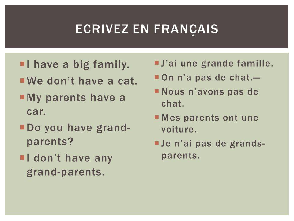 Ecrivez en français I have a big family. We don't have a cat.