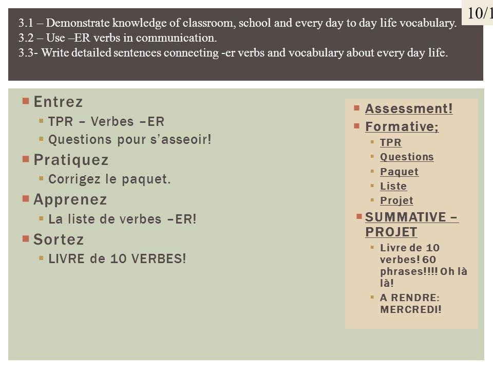 10/1 Entrez Pratiquez Apprenez Sortez TPR – Verbes –ER Assessment!