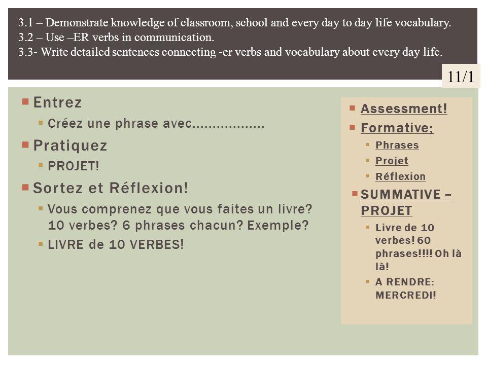 11/1 Entrez Pratiquez Sortez et Réflexion!