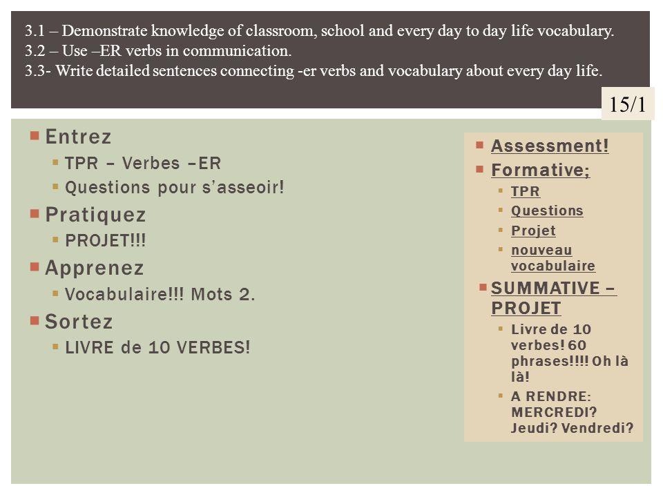 15/1 Entrez Pratiquez Apprenez Sortez TPR – Verbes –ER Assessment!