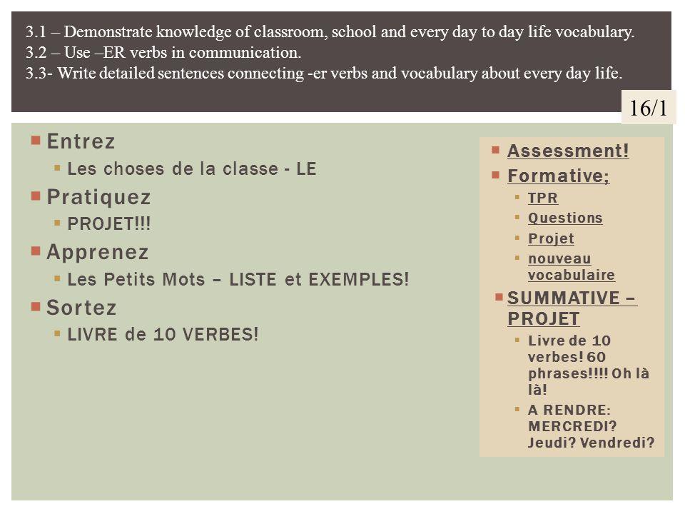 16/1 Entrez Pratiquez Apprenez Sortez Les choses de la classe - LE