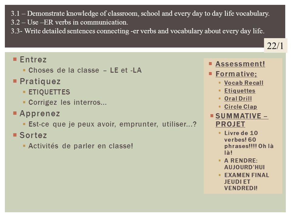 22/1 Entrez Pratiquez Apprenez Sortez Choses de la classe – LE et -LA