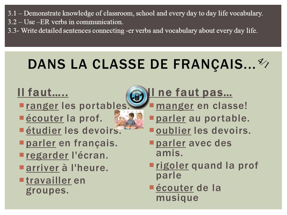 Dans la classe de français...