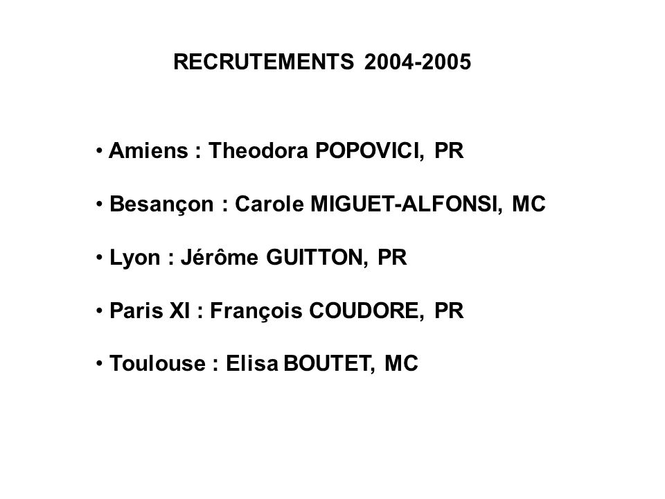 RECRUTEMENTS 2004-2005 Amiens : Theodora POPOVICI, PR. Besançon : Carole MIGUET-ALFONSI, MC. Lyon : Jérôme GUITTON, PR.