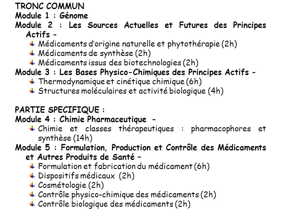 TRONC COMMUN Module 1 : Génome. Module 2 : Les Sources Actuelles et Futures des Principes Actifs -