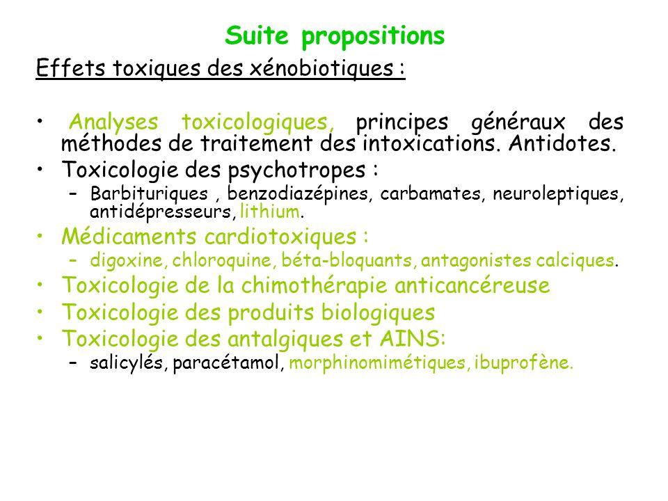Suite propositions Effets toxiques des xénobiotiques :