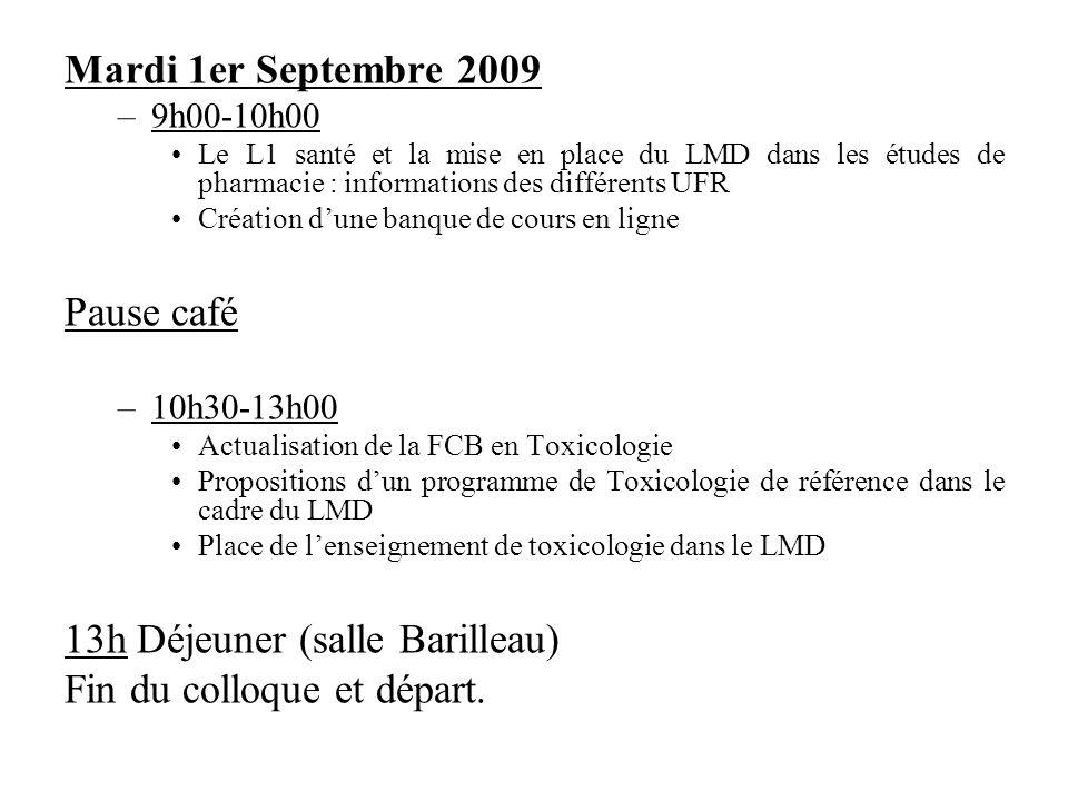 13h Déjeuner (salle Barilleau) Fin du colloque et départ.