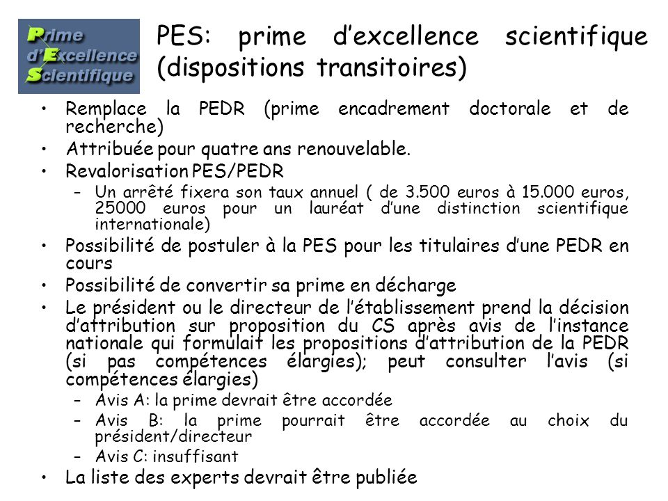PES: prime d'excellence scientifique (dispositions transitoires)