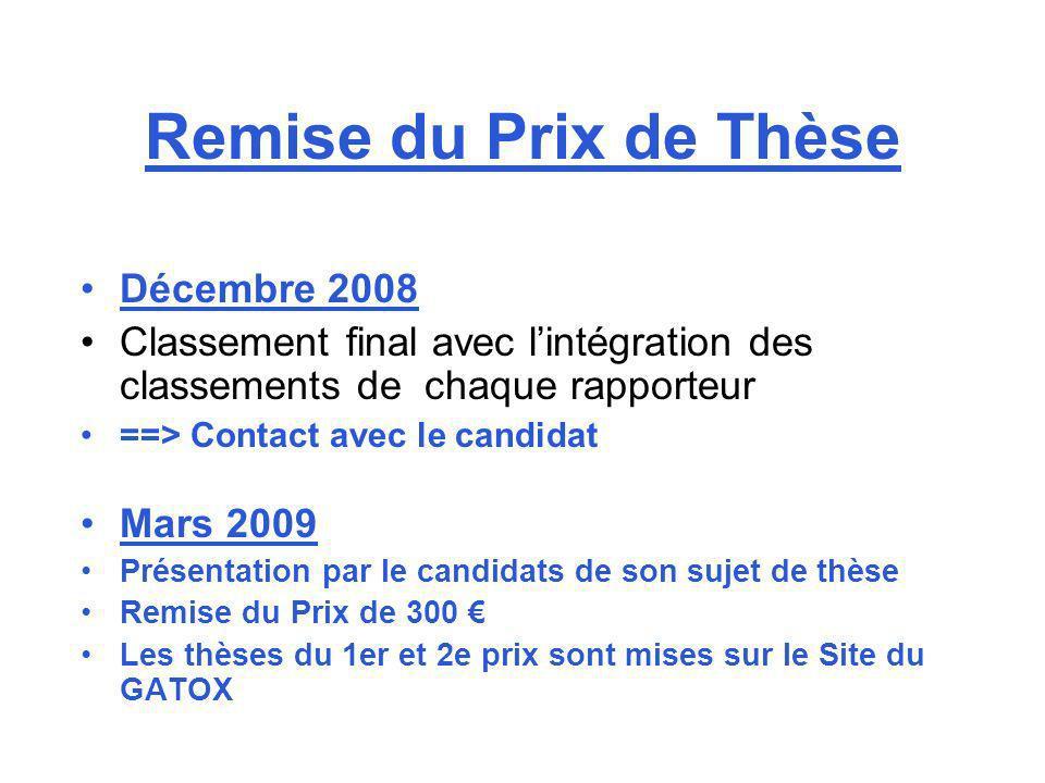 Remise du Prix de Thèse Décembre 2008